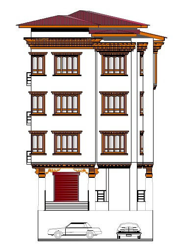 Design of B+G+ 3 Storied Mixed Use Building at Gelephu